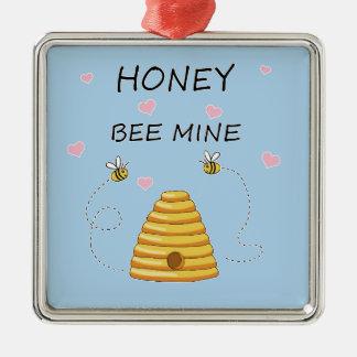 Ornement Carré Argenté Jour de Valentines de mine d'abeille