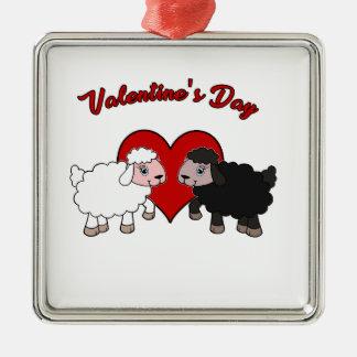 Ornement Carré Argenté Jour de Valentines - mouton