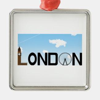 Ornement Carré Argenté Journée d'horizon de Londres