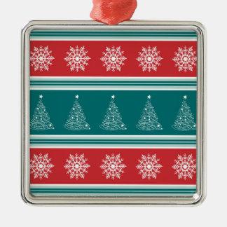 Ornement Carré Argenté Joyeux Noël