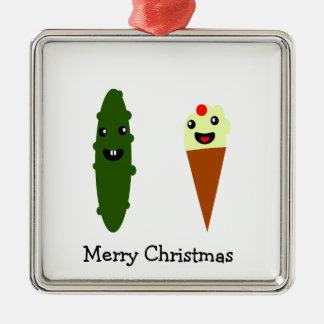 Ornement Carré Argenté Joyeux Noël de conserves au vinaigre et de crème