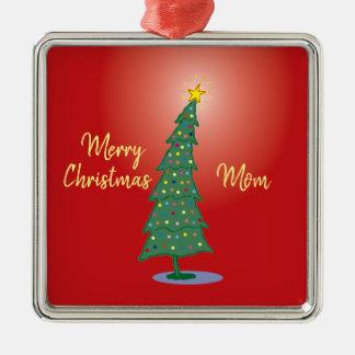 Ornement Carré Argenté Joyeux oh arbre de Noël