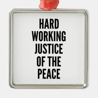 Ornement Carré Argenté Juge de paix fonctionnant dur