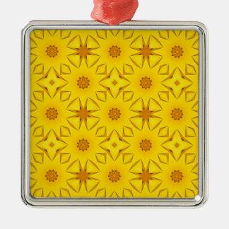 Ornement Carré Argenté Kaléidoscope des tournesols, jaune lumineux