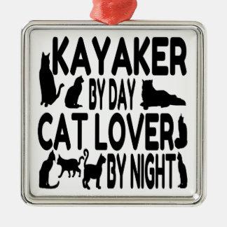 Ornement Carré Argenté Kayaker d'amoureux des chats