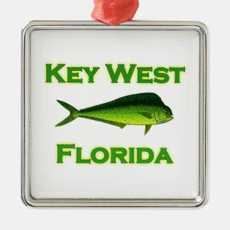 Ornement Carré Argenté Key West la Floride Mahi Mahi