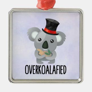 Ornement Carré Argenté Koala mignon de calembour d'Overkoalafied dans le