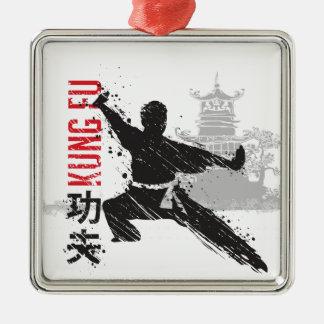 Ornement Carré Argenté Kung Fu