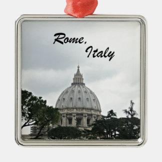 Ornement Carré Argenté La basilique de St Peter, Rome, Italie