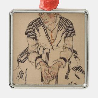 Ornement Carré Argenté La belle-soeur de l'artiste d'Egon Schiele-