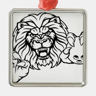 Ornement Carré Argenté La boule de bowling de lion folâtre la mascotte