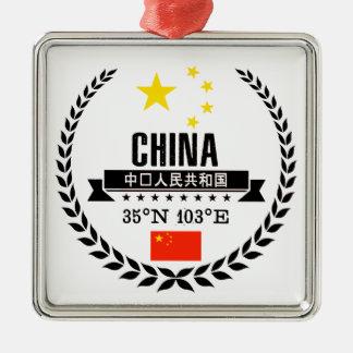 Ornement Carré Argenté La Chine
