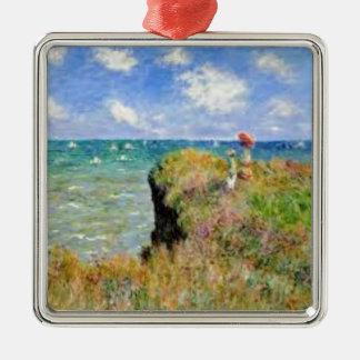 Ornement Carré Argenté La falaise de Pourville de Claude Monet