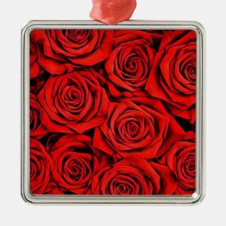 Ornement Carré Argenté La fleur florale de pétales de roses rouges plante