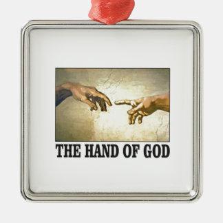 Ornement Carré Argenté la main d'un dieu