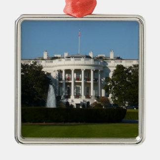 Ornement Carré Argenté La Maison Blanche de Noël pour le Washington DC de