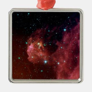 Ornement Carré Argenté La NASA rouge de nuage de ciel de la poussière