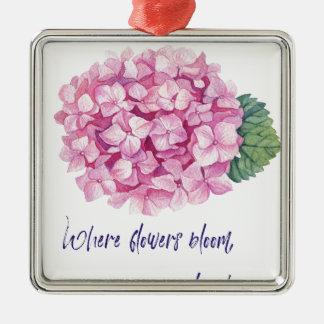 Ornement Carré Argenté Là où les fleurs fleurissent