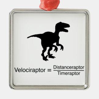 Ornement Carré Argenté la science drôle de velociraptor