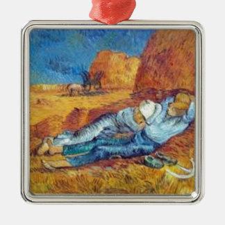 Ornement Carré Argenté La Sieste de Vincent Van Gogh (Noon)