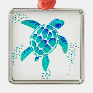 Ornement Carré Argenté La tortue de Neptune