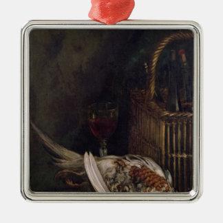 Ornement Carré Argenté La vie de Claude Monet | toujours avec un faisan,