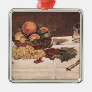 Ornement Carré Argenté La vie de Manet | toujours : Fruit sur un Tableau,