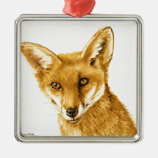 Ornement Carré Argenté La vie sauvage rouge britannique de Fox