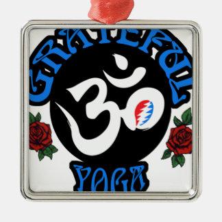 Ornement Carré Argenté La vitesse reconnaissante de logo de yoga