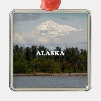 Ornement Carré Argenté L'Alaska : Denali, forêt, rivière, montagnes,