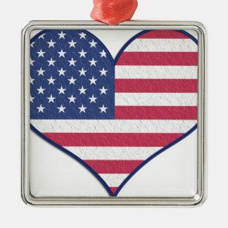 Ornement Carré Argenté L'amour Etats-Unis Etats-Unis de coeur de symbole