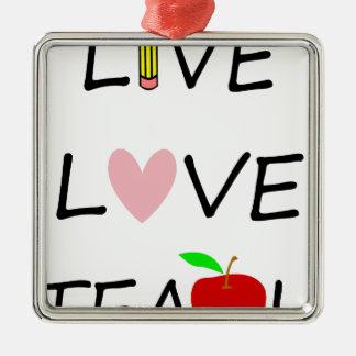 Ornement Carré Argenté l'amour vivant enseignent