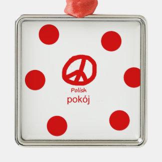 Ornement Carré Argenté Langue et conception polonaises de symbole de paix