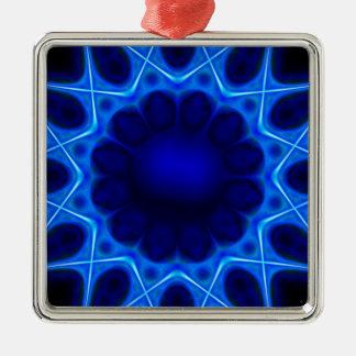 Ornement Carré Argenté laser bleu #3