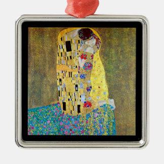 Ornement Carré Argenté Le baiser par Gustav Klimt, art vintage Nouveau
