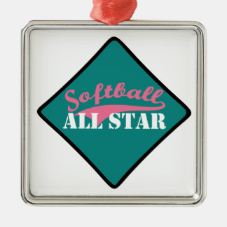 Ornement Carré Argenté Le base-ball All Star