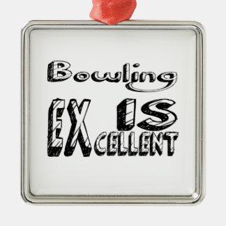 Ornement Carré Argenté Le bowling est excellent
