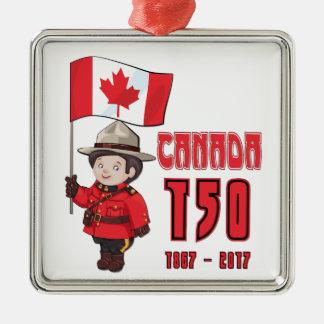 Ornement Carré Argenté Le Canada 150 ans d'anniversaire