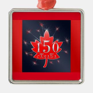 Ornement Carré Argenté Le Canada feuille d'érable de célébration de 150