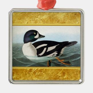 Ornement Carré Argenté Le canard blanc et noir penche la natation dans