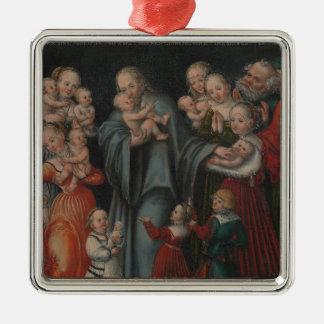 Ornement Carré Argenté Le Christ bénissant les enfants