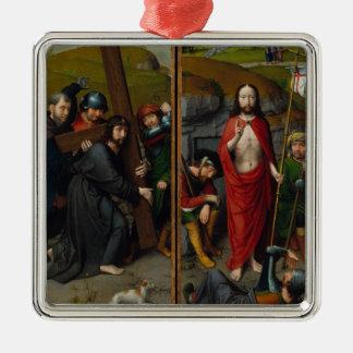Ornement Carré Argenté Le Christ portant la croix