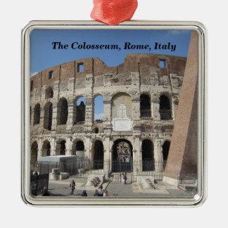 Ornement Carré Argenté Le Colosseum à Rome, Italie
