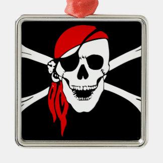 Ornement Carré Argenté Le drapeau de pirate désosse le symbole de danger