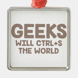 Ornement Carré Argenté Le geeks ordonne le monde