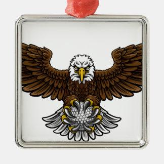 Ornement Carré Argenté Le golf d'Eagle folâtre la mascotte