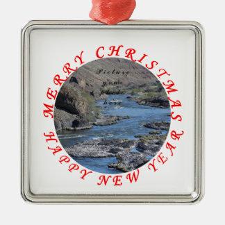 Ornement Carré Argenté Le Joyeux Noël, bonne année ajoutent la photo