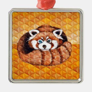 Ornement Carré Argenté Le panda rouge concernent le cubisme orange
