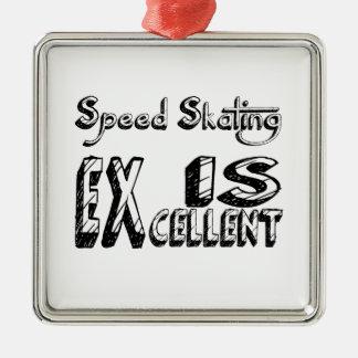 Ornement Carré Argenté Le patinage de vitesse est excellent