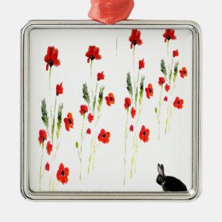 Ornement Carré Argenté Le pavot fleurit le lapin